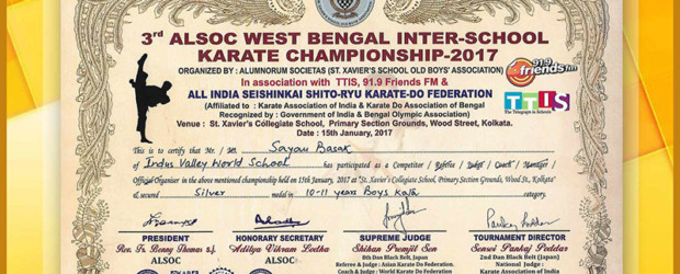 IVWS student wins silver in Karate Championship   Indus Valley World School
